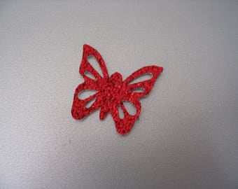 Applique butterfly imitation leather red small model