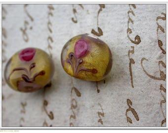 set of 2 pink Lampwork beads yellow green