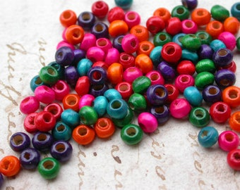 set of 30 3 multi-colored wooden beads a 5mmenviron