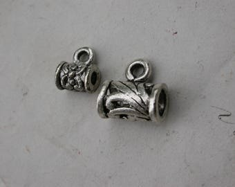 set of 20 silver tube beads