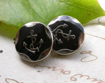 set of 6 buttons anchor Navy black and silver 1.5 cm