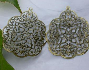set of 4 beads in bronze filigree charm pendants