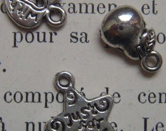 set of 6 Silver charm heart star PEAR beads
