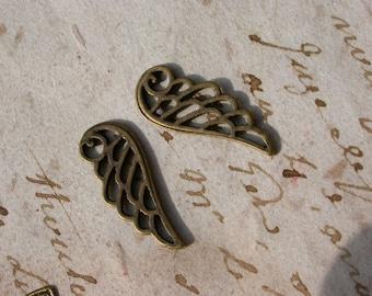 set of 6 beaded filigree brass 2.4 feather pendants