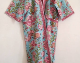 900d602c6dd Aqua   Raspberry Ananas Floral Block print Indian cotton Long Kimono Robe