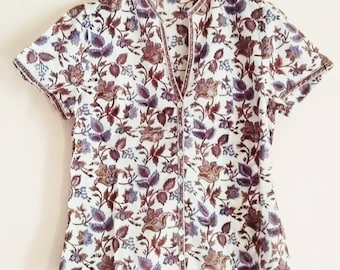 66f3cf6a2fe Cornflower & Taupe Chinoiserie Floral Anokhi Hand block print Indian cotton Blouse  Top