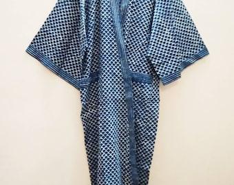 b75f34388c Organic Indigo Ecaille Jali Block print Indian cotton Long Kimono Robe
