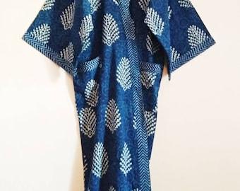 e9602fae03 Organic Indigo Fronds Block print Indian cotton Long Kimono Robe