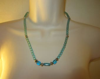 Necklace blue and silver glass beads