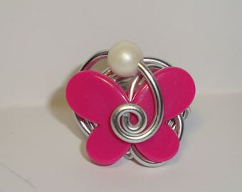 Fuschia or hot pink, adjustable butterfly Ring, wedding