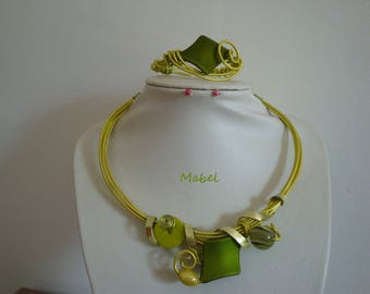 Lime green set, necklace and bracelet, embossed aluminum wire