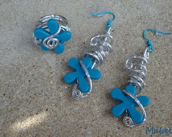 Set: Earrings blue and turquoise flower ring or earring duck aluminum silver, wedding