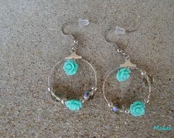 2.5 cm turquoise hoops, Bohemian crystal, resin flowers, wedding