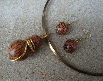 Necklace and earrings, coconut, Brown and Golden wood, wedding