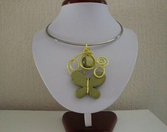 Lime green and khaki, iridescent Butterfly pendant and wire necklace