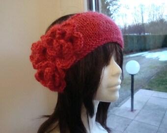 Red, knit handmade headband, flower crochet, mohair, wool and lurex
