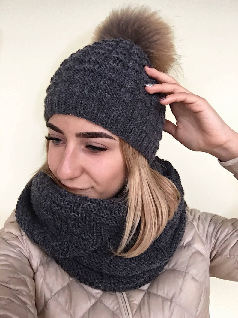 8213386fb71 Family Matching Set Knit hat scarf set Knitted hat and snood