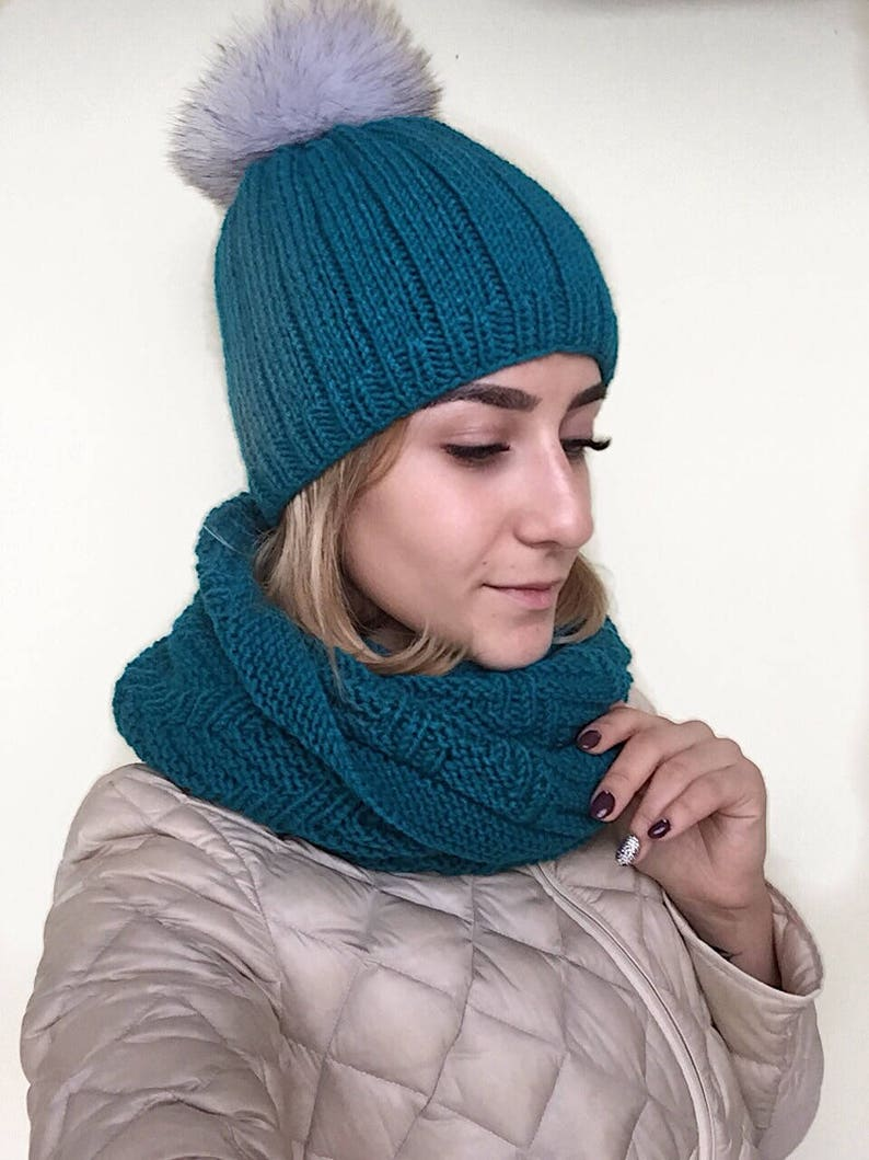 5eeadd15ca3d67 Matching hat and scarf Cerulean blue hat snood set Knit hat | Etsy