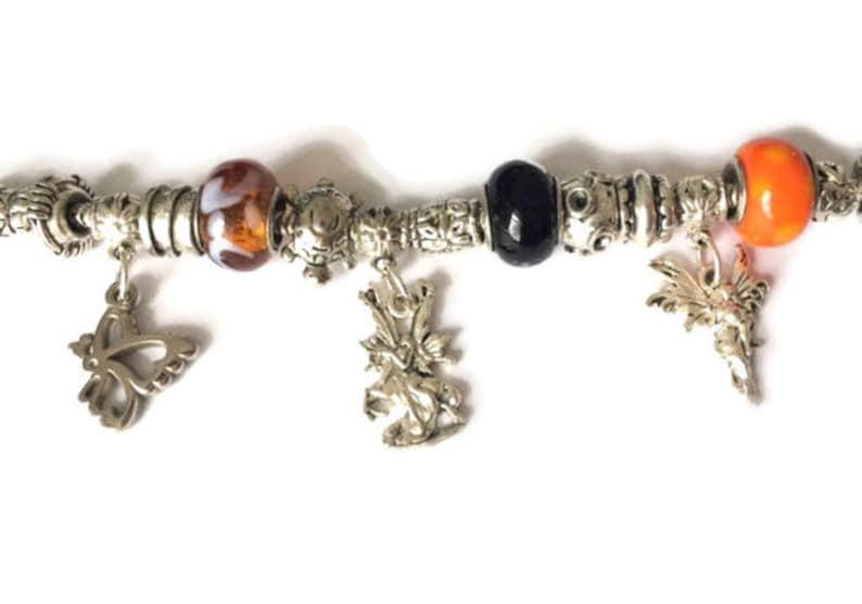 Vintage Retro 1980/'s Bright Orange Black Silver Halloween Fairy Butterfly Turtle Charm Statement Bracelet