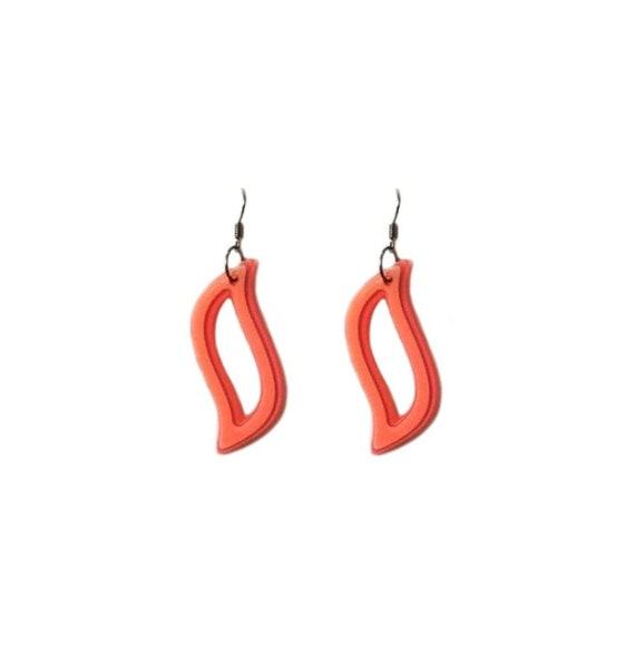 Vintage 90s Orange Star Metal Pierced Hoop Earrings