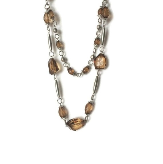 1960s Vintage clear lucite plastic bar and gold chunky bead mod minimalist statement thick retro rockabilly large transparent necklace