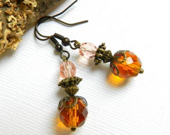 Amber and pale pink vintage style earrings