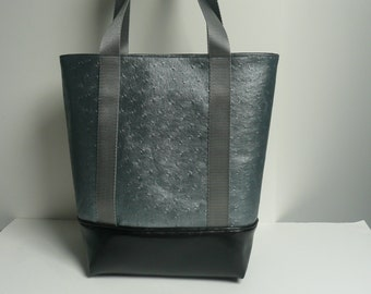 Faux gray and black faux medium size tote bag