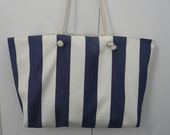Great beach bag in Navy and ecru striped fabric with inside pocket