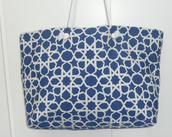 Large canvas beach bag Royal Blue with white geometric with inside zip pocket