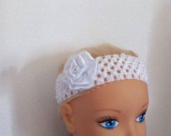 Stretch headband crocheted with its flower satin to choose