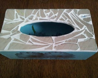 Mirror mosaic and decoupage tissue box