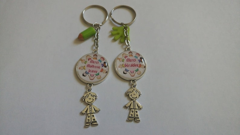 Key-teacher thanks and pre-school duo model personalized 25 mm