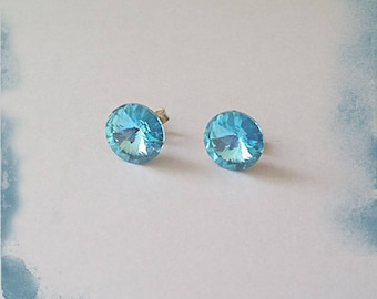 Chip swarovski 10 mm blue aquamarine 925 Sterling Silver Earring
