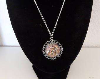 Orange lion tribal silver necklace