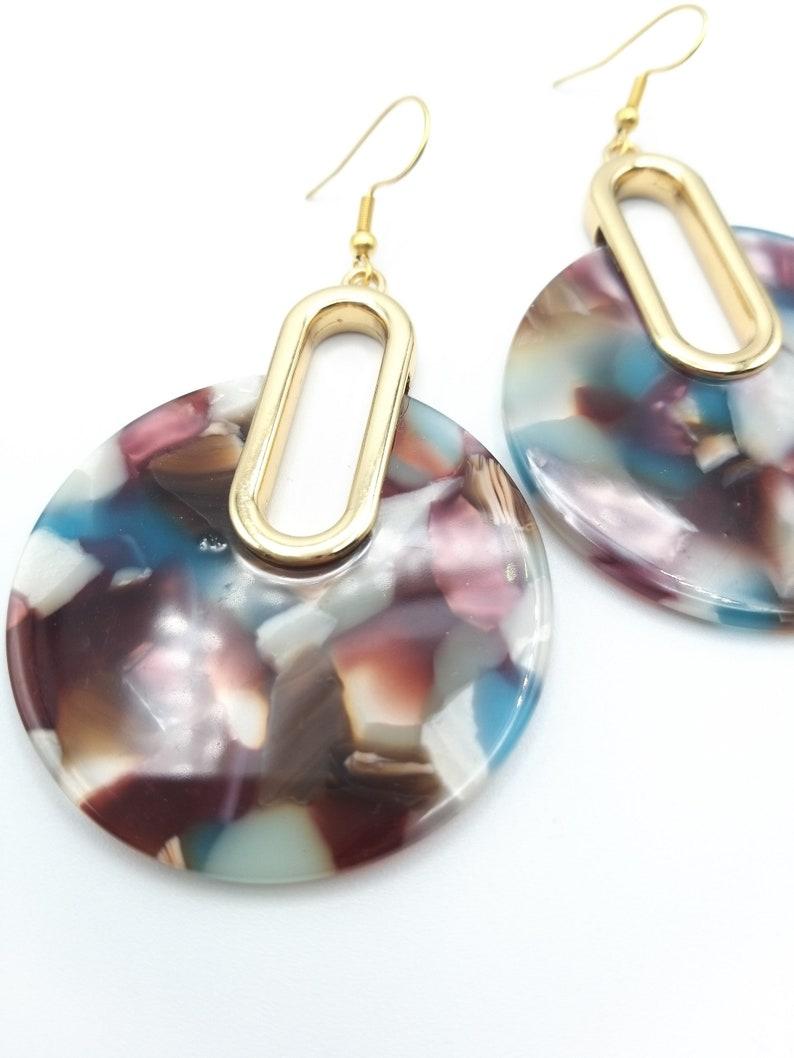 Large pinkbluegolden tortoiseshell earrings