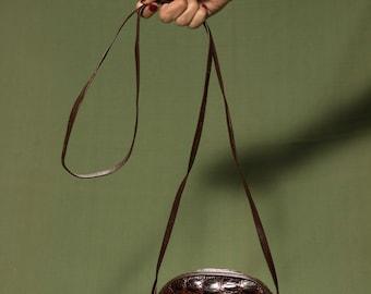 90's Mini Brown Leather Bag / Oval Shaped Bag / Little Brown Bag / Crocodile print Leather / Vintage purse