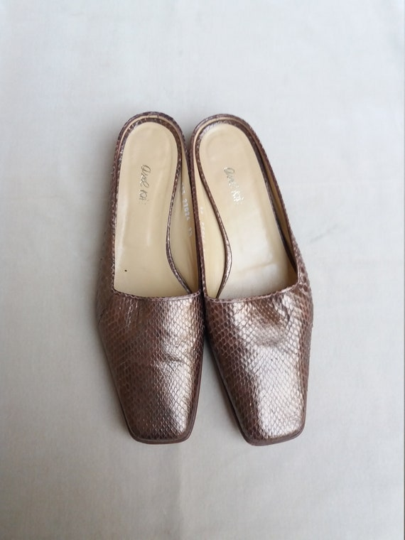90's Bronze Real leather and Snake Mules / 90's S… - image 4
