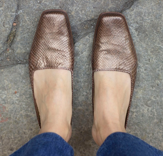 90's Bronze Real leather and Snake Mules / 90's S… - image 2