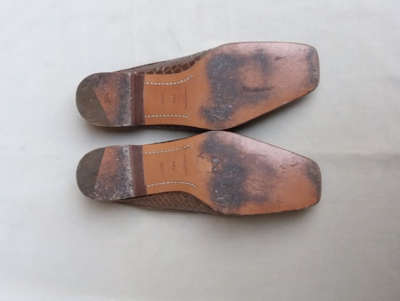 90's Bronze Real leather and Snake Mules / 90's S… - image 5