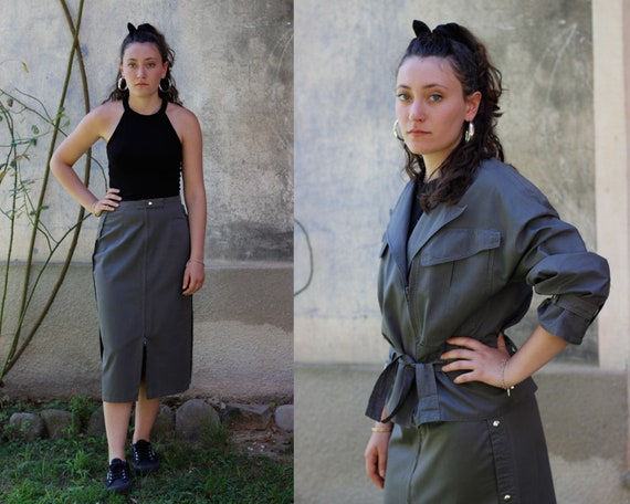 80's Grey Cotton Matching Two Piece Set with Jacke