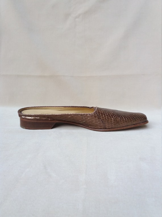 90's Bronze Real leather and Snake Mules / 90's S… - image 3