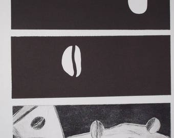 Print size soft drypoint and aquatint: coffee beans