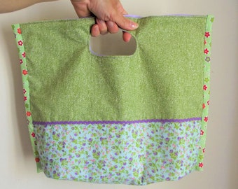 Spring - reversible - tote bag fabric - cotton floral, green, purple - ref: 090518-B