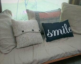 Homemade Knit Throw Pillow