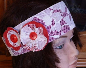 head band in white lace on red background