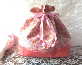 Drawstring bag - pink roses