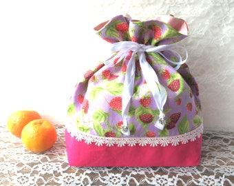 Drawstring bag - strawberry patterns - purple colour