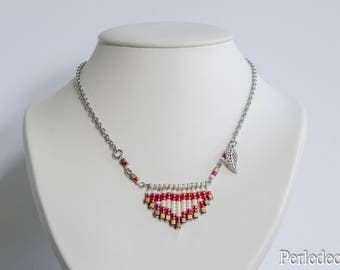 """Short """"Gipsy"""" folk necklace beige and Red"""