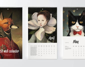2018 wall calendar Illustrated wall calendar Monthly planner Fantasy paintings Original art Whimsical rabbit fox botanical animal portrait