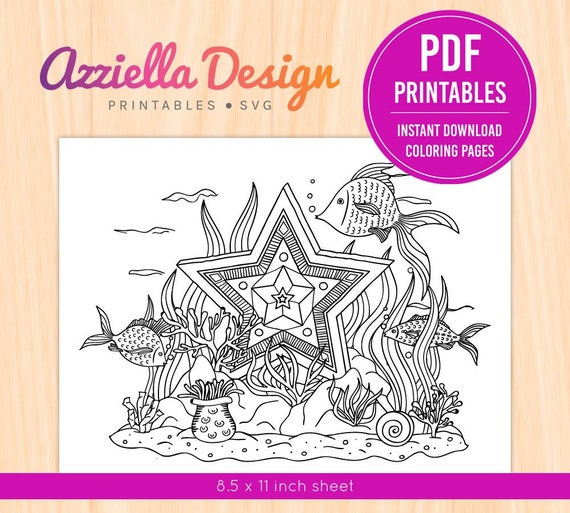 Printable Pdf Png Children Adult Coloring Page Underwater Etsy